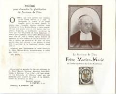 Image Pieuse - FRERE MUTIEN-MARIE (1928) Avec Comme Relique Une Parcelle Du Cercueil (Feuillet Double) - Devotion Images