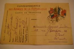 CORRESPONDANCE DES ARMEES DE LA REPUBLIQUE - CARTE EN FRANCHISE - 8 MARS 1916 - Weltkrieg 1914-18