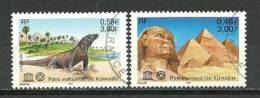 UNESCO 2001 . Yv. # 124/25. 2 T-p Oblit. (Sphinx Du Guizeh & Parc De Komodo) - Used
