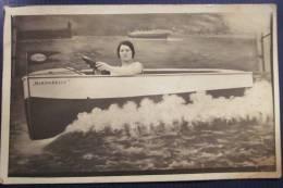 CPA Photo TROMPE OEIL Bateau Mouette HIRONDELLE Peinture Le HAVRE Femme Pilote VACANCES à La MER - Fotografía