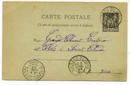 Entier Type SAGE Avec CAD Type A MOIRANS DU JURA / Dept 38 JURA / 3 Avril 1893 / Pour St Claude - Marcophilie (Lettres)