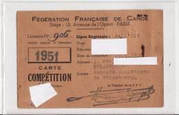 Carte COMPETITION 1951 STRASBOURG - Fédération Française De CANOE KAYAK-AVIRON-BATEAU-SPORT-VOIR 2 SCANS - Rowing