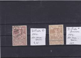 TIMBRE DE BELGIQUE   N. 72 * Et 72 /o/  1896 - 1894-1896 Expositions
