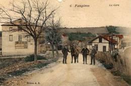 Faugères...carte Très Animée La Gare Avec Hommes Et Un Cheval ...très Belle Carte RARISSIME - Frankreich