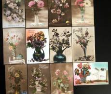 Lot De 12 Cartes Cpa De Fleurs En Vase Bouquet Fleur Flowers Flower 1900 1930 - Non Classificati