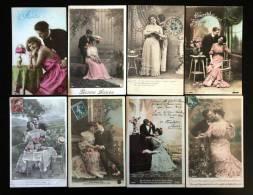 Lot De  16 Cartes Cpa De Couples Couple Amour élégance Romantisme Glamour Poésie Séduction Flirt Drague 1900 1930 - Couples
