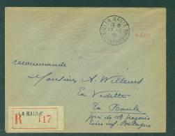 Recommandé Provisoire Affranchie Machine 4F50 La Baule 17.2.1945, Arrivée La Baule 19.2 - Marcophilie (Lettres)