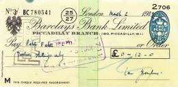 BARCLAYS BANK CHEQUE - PICCADILLY BRANCH - 1959 - USED - Lettres De Change
