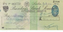 BARCLAYS BANK CHEQUE - PICCADILLY BRANCH - 1958 - USED - Lettres De Change
