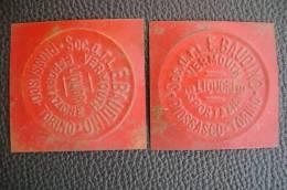 PO5370# 2 TARGHE In Latta Smaltata Soc.a.r.l.E.BAUDINO - VERMOUTH LIQUORI ESPORTAZIONE - PIOSSASCO Torino - Liquor & Beer