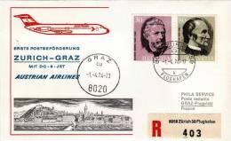 ZURICH  /  GRAZ  -  Cover _ Lettera   -  DC 9 Jet  _  AUSTRIAN AIRLINES - Airmail
