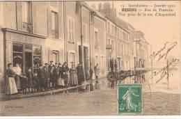 (95) BEZONS. Innondations Janvier 1910. Rue De Pontoise Vue Prise De La Rue D'Argenteuil - Bezons