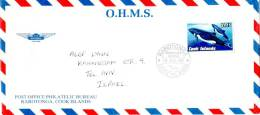 Cook Islands Official Cover Airmailed To Israel 1992 WWF Heaviside Dolphin Single Stamp - Cook