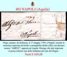 """Aquila-00040 - Piego Con Testo Da Sulmona - Reca Il Raro Bollo """"ABRUZ"""" Apposto Ad Aquila - Italia"""