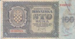 CROATIA  -  NDH  --  NEZAVISNA DRZAVA HRVATSKA  ---  100 KUNA - Croatia