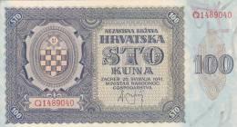 CROATIA  -  NDH  --  NEZAVISNA DRZAVA HRVATSKA  ---  100 KUNA  UNC - Croatia