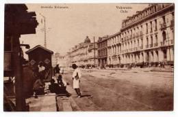 AMERICA CHILE VALPARAISO ERRAZURIZ AVENUE OLD POSTCARD 1921. - Chile