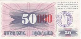 REPUBLIKA BOSNA I HERCEGOVINA  -  50 DIN. --  1992  -  STEMPEL SARAJEVO  -  UNC - Bosnien-Herzegowina