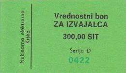 SLOVENIJA  --   VREDNOSTNI BON   -  300 SIT  -  NUKLEARNA ELEKTRANA KRSKO  -  NUCLEAIRE CENTRALE - Slowenien
