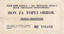 BOSNIEN  -  ZENICA  --  BON ZA TOPLI OBROK - Bosnien-Herzegowina