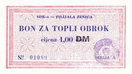 BOSNIEN  -  SDK - A  ZENICA  --  BON ZA TOPLI OBROK  --  1,00 DM - Bosnien-Herzegowina