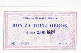 BOSNIEN  -  SDK - A   ZENICA  --  BON ZA TOPLI OBROK  --  2,00 DM - Bosnien-Herzegowina