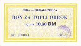 BOSNIEN  -  SDK - A   ZENICA  --  BON ZA TOPLI OBROK  --  10,00 DM - Bosnia And Herzegovina