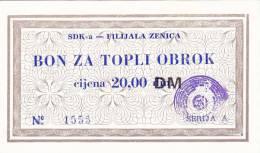 BOSNIEN  -  SDK - A   ZENICA  --  BON ZA TOPLI OBROK  --  20,00 DM - Bosnien-Herzegowina