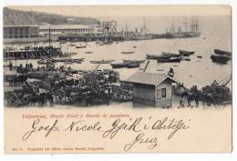 AMERICA CHILE VALPARIOSO TAX AND PASSENGERS DOCK OLD POSTCARD - Chile