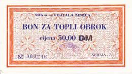 BOSNIEN  -  SDK - A   ZENICA  --  BON ZA TOPLI OBROK  --  50,00 DM - Bosnien-Herzegowina