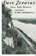 Twin Zephyrs  Twice Daily Between Chicago  And St. Paul - Minneapolis  Burlington Route - Treinen