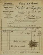 F 50 - Facture- Hte Savoie - ANNEMASSE -de Corbet Et Menegoz - ABSINTHE SUISSE - VINS EN GROS   - à Mme PEILLEX 1890 - Alcohols