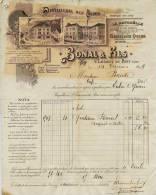 F 27 - Isére - St LAURENT Du PONT- FACTURE - De 1899 -DISTILLERIE Des ALPES - Prop. BONAL & FILS QUINA GENTIANE ALCOOL - Alcohols