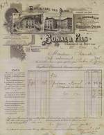 F 29 - Isére - BONAL & FILS QUINA GENTIANE ALCOOL- St LAURENT Du PONT- FACTURE - De 1898 -DISTILLERIE Des ALPES - Prop. - Alcohols