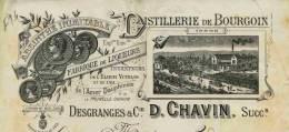 F 14 - Isére-FACTURE - De 1898 - DISTILLERIE De BOURGOIN  - ABSINTHE INIMITABLE  ...etc   Etc  ...- Prop. D. CHAVIN - Facturas