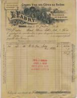 F 16 - Ardéche - TOURNON-  FACTURE - De 1899 - ALCOOL - GRANDS VINS - SPIRITUEUX Et LIQUEURS - Prop. L . FABRY + Mandat - Alcohols