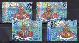 Hong Kong 2001 Dragon Boat - Australia Joint Issue - Stamps Of Both Countries Used - Hong Kong (1997-...)