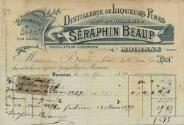 F 9 - Isére - MOIRANS   - LIQUEURS FINES  - Prop. Séraphin BEAUP - Distillerie - Facture Du 13 Mai 1899 - Alcohols