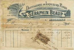 F 10 - Isére - MOIRANS   - LIQUEURS FINES  - Prop. Séraphin BEAUP - Distillerie - Facture Du 26 Juillet 1898 - Alcohols