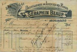 F 11 - Isére - MOIRANS   - LIQUEURS FINES  - Prop. Séraphin BEAUP - Distillerie - Facture Du 13 Juin 1899 - Alcohols