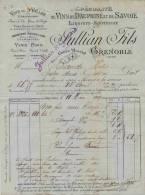 F 12 - Isére - GRENOBLE   - Vins Du Dauphiné Et De Savoie - Prop. JULLIAN Fils - Facture Du 11 MARS 1899 - Alcohols
