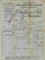F 13 - Isére - GRENOBLE   - Vins Du Dauphiné Et De Savoie - Prop. JULLIAN Fils - Facture Du 11 MARS 1899 - Alcools