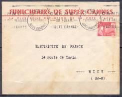 LETTRE Avec Entete  PUBLICITAIRE De   CANNES    FUNICULAIRE  Le 28 IV 1950  Timbre Mne DE GANDON  PEU COMMUN - Sellado Mecánica (Otros)