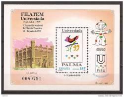 ES3648-L3916TARO.Spain.F I LATEM.EXPO Filatelia Tematica.UNIVERSIADA PALMA DE MALLORCA .La Lonja.1999( Ed.3648**)LUJO - Arquitectura