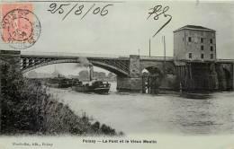 Cpa, Poissy, Le Pont Et Le Vieux Moulin, Batellerie, 1906 - Poissy