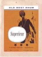 """ETIQUETTE - BELGIQUE - RUMBEKE - OLD BEST RHUM - SUPERIEUR - """" NEGRESSE """" - PIERRE PEENE - 128 X 96 Mm - Rhum"""