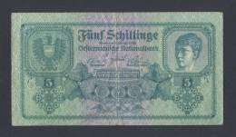 AUSTRIA * ÖSTERREICH , 5 Schilling  2/1/1925 VF (P88) * RARE BANKNOTE ! - Oesterreich
