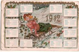 Calendrier/Carte Postale / Femme Faisant De La Luge / Meilleurs Voeux/New York:USA/1912      CAL106 - Petit Format : 1901-20