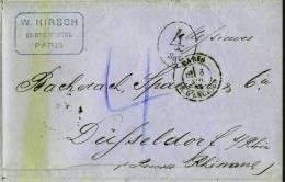 Sehr Alter Faltbrief Von Paris Vom 8. November 1865, Mit Strafporto Von 4 Silbergroschen, Von W. Hirsch 15. Rue Martell - 1863-1870 Napoléon III. Laure