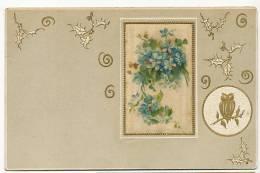 Silk Painted Card,  Peinte Sur Soie Gaufrée Embossed Hibou, Chouette, Night Owl, Myosotis - Cartes Postales